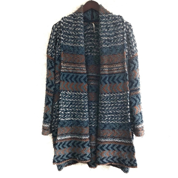 Free People long, open front cardigan. Size XS